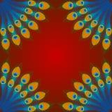 Vektorpåfågelfjädrar på röd bakgrund Arkivfoto