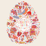 Vektorpåskdesign Blom- kort för lycklig påsk Ljus klotterferiebakgrund som in göras av blommor, fåglar, hjärtor och fjärilar Royaltyfri Fotografi