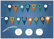 Vektorpåskgirlander med triangulära flaggor, ägg, hjärtor och kaniner Illustration för easter kort och inbjudningar Grå färger, royaltyfri illustrationer