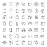 Vektorpacken skriver symbolsuppsättningen i den tunna linjen stil Arkivbild