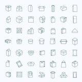 Vektorpacken skriver symbolsuppsättningen i den tunna linjen stil Royaltyfri Bild
