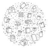 Vektorpacken skriver symbolsuppsättningen i den tunna linjen stil Fotografering för Bildbyråer