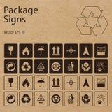 Vektorpackesymboler på hantverkpappersbakgrund stock illustrationer