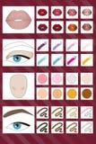 Vektorpalett av färger för smink royaltyfri illustrationer