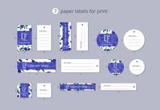 Vektorpapier-Kleidungsaufkleber für Druck mit Musterblaubeeren und -blättern Lizenzfreie Stockbilder