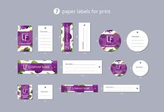 Vektorpapier-Kleidungsaufkleber für Druck mit Musterfeigen und -blättern Lizenzfreies Stockfoto
