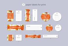 Vektorpapier-Kleidungsaufkleber für Druck mit Mustermango und -blume Lizenzfreie Stockfotos