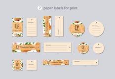 Vektorpapier-Kleidungsaufkleber für Druck mit Musterpfirsich und -blume Lizenzfreie Stockbilder