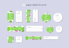 Vektorpapier-Kleidungsaufkleber für Druck mit Musterpitaya und -blume Lizenzfreies Stockbild