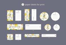 Vektorpapier-Kleidungsaufkleber für Druck mit Musterzitronen und -blumen Lizenzfreie Stockfotos