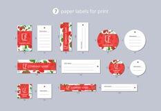 Vektorpapier-Kleidungsaufkleber für Druck mit Walderdbeere und Blume des Musters Lizenzfreie Stockfotografie