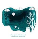 Vektorpapierkunst Weihnachtsillustrationsschablone für Grußkarte, Kalender oder usw. Winterlandschaft mit Rotwild und stock abbildung