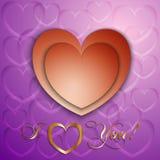 Vektorpapierschnitt Valentinsgrußkarte mit Herzen vektor abbildung