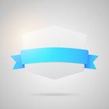 Vektorpappersemblem med det blåa siden- bandet Arkivbild