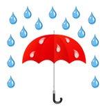 Vektorparaplyet och regnar tappar stock illustrationer