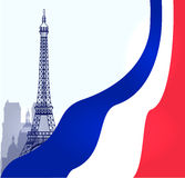 VektorParis illustration med franskaflaggan Fotografering för Bildbyråer