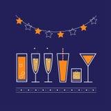 Vektorparteiplakat mit Getränken und Cocktails Illustration für Parteieinladung Stockfoto