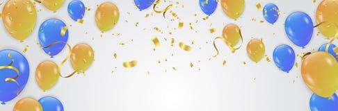 Vektorpartibakgrund med konfettier och ballonger stock illustrationer