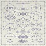 VektorPen Drawing Decorative Vintage Design beståndsdelar royaltyfri illustrationer