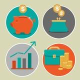 Vektorpengar- och affärssymboler i plan stil