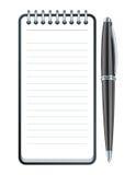 Vektorpenna och anteckningsboksymbol Arkivfoton
