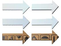 Vektorpfeile vom Papier und von der Pappe. Stockbilder