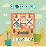 Vektorpicknick auf der Strandkarte Lebensmittel- und Zeitvertreibillustration flach Grilleinzelteile Design der Einladungsfamilie Lizenzfreie Stockfotos