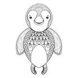 Vektorpinguin för vuxen färgläggningsida Hand dragen rolig pinguin Arkivbild
