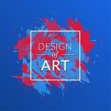 Vektorpinselhintergrund mit quadratischem Rahmen- und Textdesign der Kunst Blaue der abstrakten Abdeckung grafische und rote Farb Stockbilder