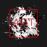 Vektorpinselhintergrund mit quadratischem Rahmen- und Textdesign der Kunst Rote der abstrakten Abdeckung grafische und weiße Farb Lizenzfreies Stockfoto