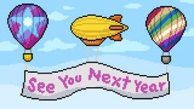 Vektorpixelkunstballon-Zeichenszene stockbild