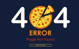 Vektorpizza-Grafikhintergrund der Seite mit 404 Fehlern nicht gefundener Stockfoto