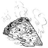 Vektorpizza-Scheibe-Skizze Lizenzfreies Stockbild