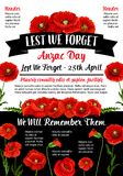 Vektorplakat Anzac Day Lest We Forgets am 25. April Stockbilder