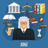 Vektorplakat des Richterberufs oder -befürwortung Lizenzfreie Stockbilder