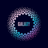 Vektorplakat Galaxie Halfton-Kreisrahmen Stockfotos