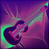 Vektorplakat mit Mehrfarbenakustikgitarre, hellen Linien, der Aufschriftlive-musik und Platz für Text auf Zusammenfassung stock abbildung