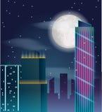 Vektorplakatdesign mit Nachtstadtgebäuden Lizenzfreie Stockbilder