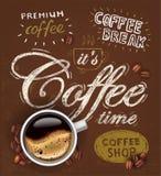 Vektorplakattasse kaffee Stockfoto