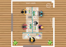 Vektorplanet arbetet av ett affärsmöte, seminarier och idékläckningidéer för en lägenhet för marknadsföringsplan planlägger Royaltyfria Bilder