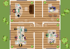 Vektorplanet arbetet av ett affärsmöte, seminarier och idékläckningidéer för en lägenhet för marknadsföringsplan planlägger Arkivfoto