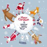 Vektorplanet der frohen Weihnachten Stockfoto