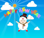 Vektorpojke i snögubbedräkten som rymmer ballongen för lyckligt nytt år i blå himmel för dag Royaltyfri Bild