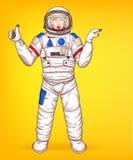 Vektorpop-arten-Astronautinpunkte zu den Verkäufen vektor abbildung