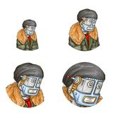 Vektorpop-arten-Avatara des Roboters, android stock abbildung