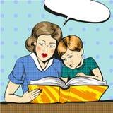 Vektorpop-arten-Illustration der Mutter mit Sohn vektor abbildung