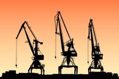 Vektorportalkräne auf Sonnenunterganghintergrund lizenzfreies stockfoto