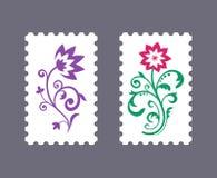 Vektorportostämplar med blom- symboler royaltyfri illustrationer