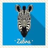 Vektorporträt eines Zebras Symmetrische Porträts von Tieren Vektor-Illustration, Grußkarte, Plakat ikone Tiergesicht Stockbilder