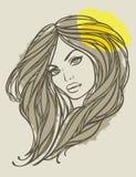 Vektorportrait des langhaarigen Mädchens mit Blume. Stockfotos